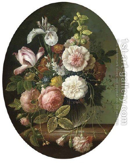 Pink roses, parrot tulip, carnation, iris, and chrysanthemum a glass vase, on a stone ledge by Ambrosius The Younger Bosschaert - Reproduction Oil Painting