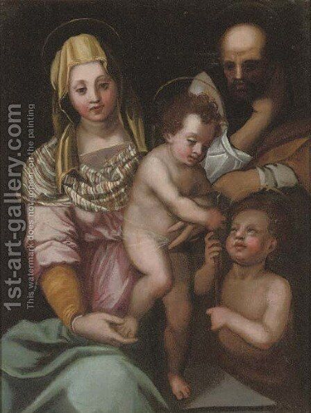 The Holy Family with Saint John the Baptist by (after) Andrea Del Sarto - Reproduction Oil Painting