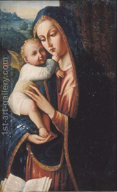 The Madonna and Child 2 by (after) Andrea Solario - Reproduction Oil Painting