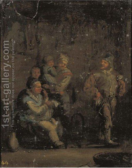 An interior with a family by a spinning wheel by Andries Both - Reproduction Oil Painting