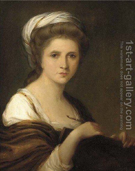 Portrait of the artist, bust-length, a pen and folio under her arm by (after) Kauffmann, Angelica - Reproduction Oil Painting