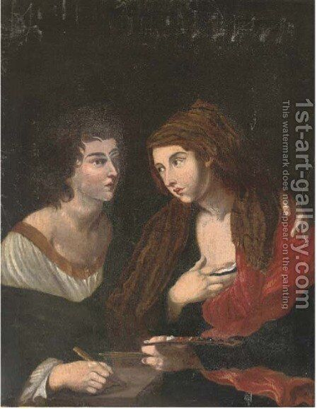 Poetry embracing Painting by (after) Angelo Caroselli - Reproduction Oil Painting