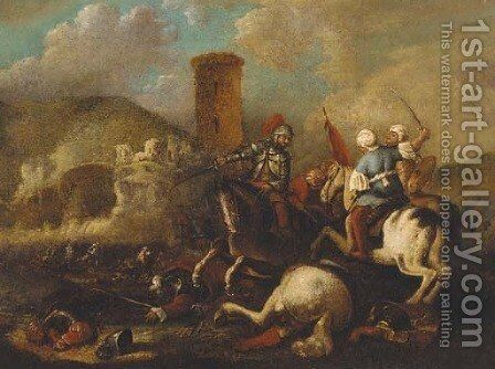 A cavalry battle between Christians and Turks near a fort by (after) Aniello Falcone - Reproduction Oil Painting