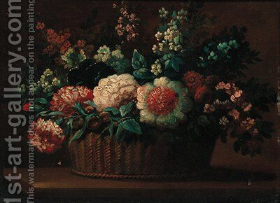 Carnations, roses and other flowers in a basket on a ledge by (after) Anne Vallayer-Coster - Reproduction Oil Painting