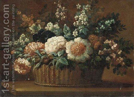 Carnations, roses and other flowers in a basket on a ledge 2 by (after) Anne Vallayer-Coster - Reproduction Oil Painting