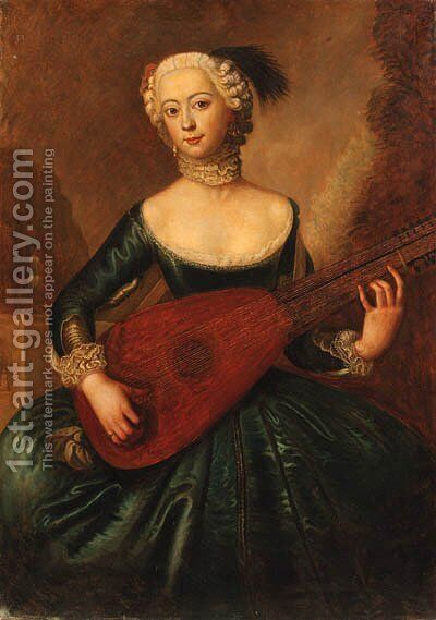 Portrait of a lady, three-quarter-length, in a blue dress, playing a lute by Antoine Pesne - Reproduction Oil Painting