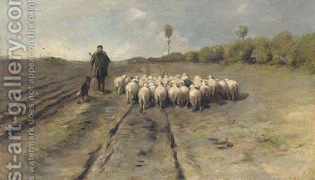 A shepherd leading his flock home by (after) Anton Mauve - Reproduction Oil Painting