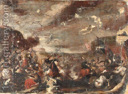 A battle scene by (after) Antonio Calza - Reproduction Oil Painting
