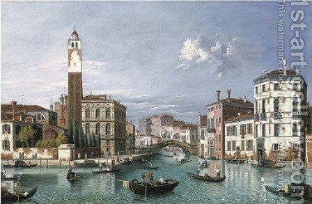 Venice The Grand Canal looking north-west towards S. Geremia and the entrance to the Cannaregio by (Giovanni Antonio Canal) Canaletto - Reproduction Oil Painting
