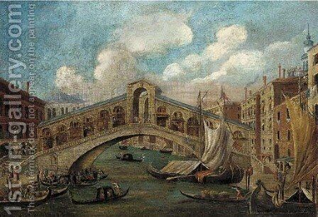 The Rialto Bridge; and The Doge's Palace, Venice by (Giovanni Antonio Canal) Canaletto - Reproduction Oil Painting