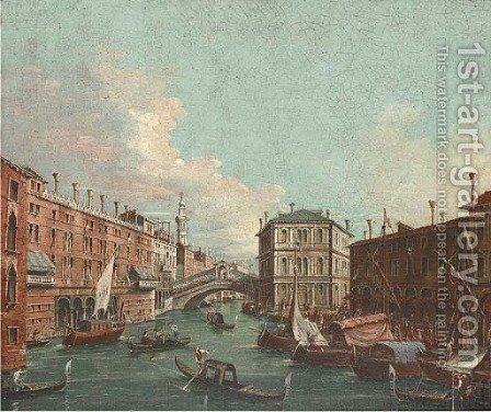 Vessels before the Rialto Bridge, Venice by (Giovanni Antonio Canal) Canaletto - Reproduction Oil Painting