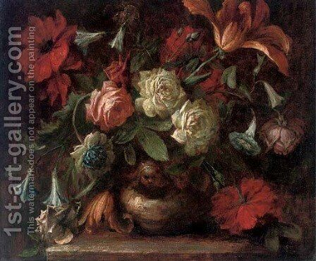 Roses, carnations, morning glory and a tulip in a vase on a ledge by (after) Antonio Mezzadri - Reproduction Oil Painting