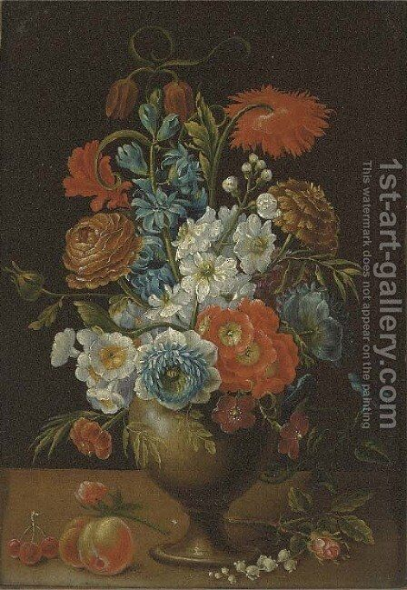 Roses, carnations, daffodils and other flowers in a vase on a ledge by (after) Balthasar Van Der Ast - Reproduction Oil Painting