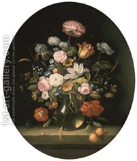 Roses, tulips, morning glory, berries and fruit in a glass jug with a butterfly, a dragonfly and a snail on a ledge by (after) Balthasar Van Der Ast - Reproduction Oil Painting