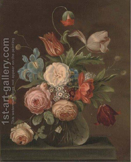 Roses, tulips, and other flowers in a glass vase with a snail and a fly on a ledge by (after) Balthasar Van Der Ast - Reproduction Oil Painting