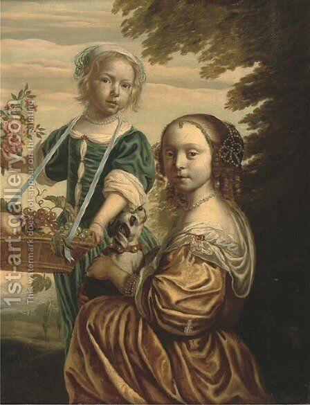 Double portrait of two girls, the elder kneeling, in a yellow silk dress with a dog in her lap, the younger standing by (after) Bartholomeus Van Der Helst - Reproduction Oil Painting