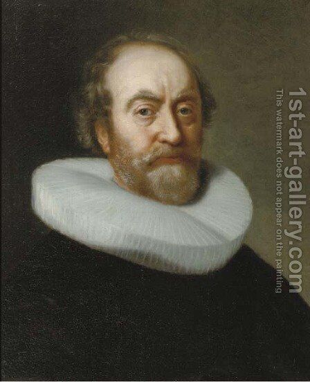 Portrait of a gentleman, bust-length, in a black costume and a white molensteenkraag by (after) Bartholomeus Van Der Helst - Reproduction Oil Painting