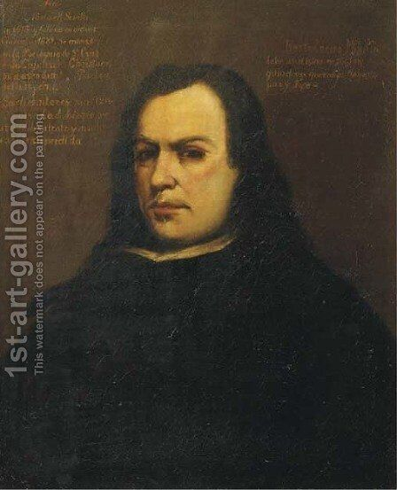 Portrait of the artist, half-length, in a black costume with a white collar by Bartolome Esteban Murillo - Reproduction Oil Painting