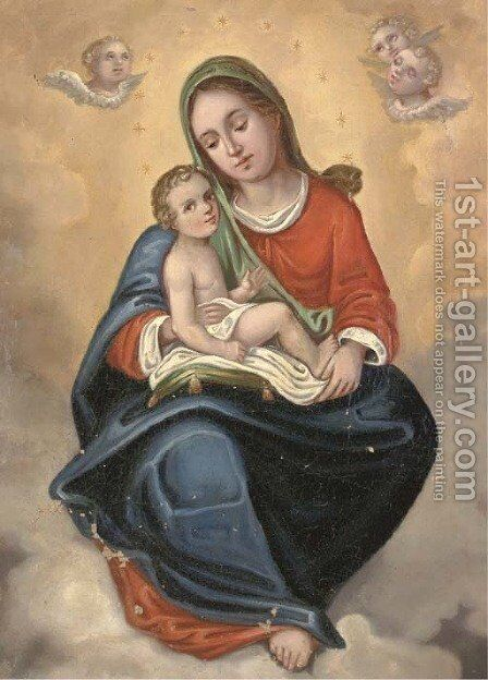 The Madonna and Child in Glory by Bartolome Esteban Murillo - Reproduction Oil Painting
