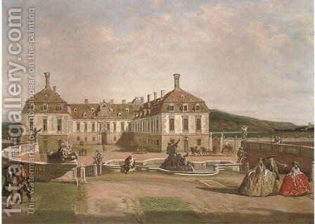 Elegant figures in the courtyard of a chateau by (after) Bernardo Bellotto (Canaletto) - Reproduction Oil Painting
