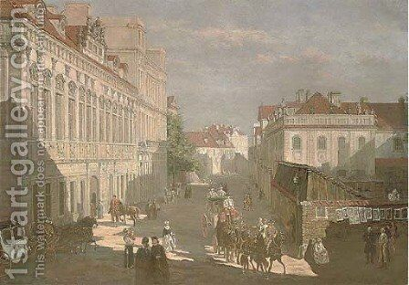 Figures in a continental street by (after) Bernardo Bellotto (Canaletto) - Reproduction Oil Painting