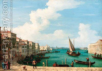 Figures on a Venetian quay by (after) Bernardo Bellotto (Canaletto) - Reproduction Oil Painting