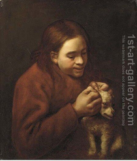 A boy de-licing a dog by (after) Bernhard Keil - Reproduction Oil Painting