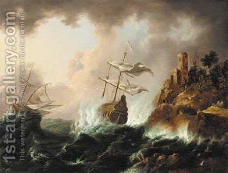 Vessels heading for the rocks in a storm by (after) Bonaventura Peeters - Reproduction Oil Painting