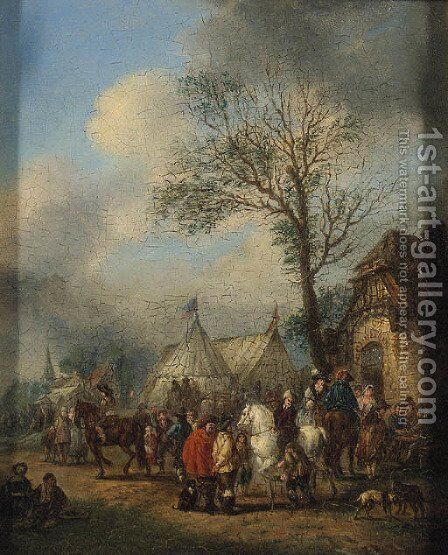 An elegant Hunting Party about to Depart; and Horsemen and other Figures before an Inn by (after) Carel Van Falens Or Valens - Reproduction Oil Painting