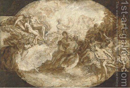Apollo in his chariot a modello for a ceiling by (after) Carlo Innocenzo Carloni - Reproduction Oil Painting