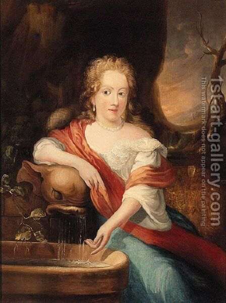 Portrait Of A Lady, Seated Small Three-Quarter-Length, By A Fountain by (after) Casper Netscher - Reproduction Oil Painting