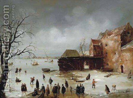 Figures on a frozen lake by (after) Charles Henri Joseph Leickert - Reproduction Oil Painting