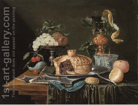 A pie on a pewter plate, grapes and cherries on a pewter tazza, a partly-peeled lemon in a glass roemer and a Dutch delft blue by Christian Luycks - Reproduction Oil Painting