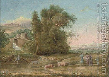 A wooded river landscape with a waterfall beneath a tower, drovers in the foreground by Claude Lorrain (Gellee) - Reproduction Oil Painting