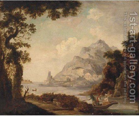 Figures in a boat before classical ruins, in a Mediterranean harbour by Claude Lorrain (Gellee) - Reproduction Oil Painting
