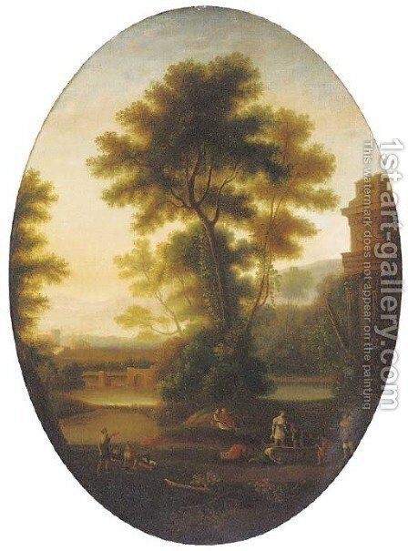 A classical landscape with wine makers and other figures by ruins, in a feigned oval by Claude Lorrain (Gellee) - Reproduction Oil Painting