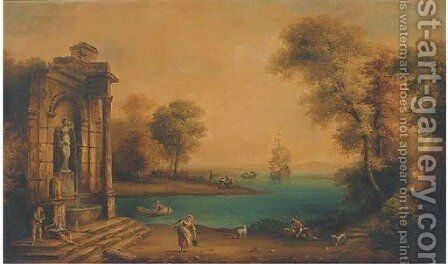 A coastal landscape with shipping and figures by a classical fountain by Claude Lorrain (Gellee) - Reproduction Oil Painting
