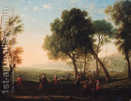 An Italianate river landscape with figures dancing in a glade by Claude Lorrain (Gellee) - Reproduction Oil Painting