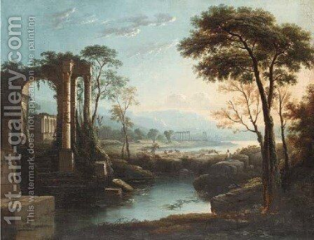 A goatherd by Arcadian ruins by Claude Lorrain (Gellee) - Reproduction Oil Painting