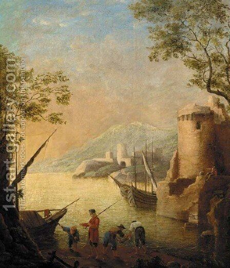 A harbour at sunset with fishermen by the shore by Claude Lorrain (Gellee) - Reproduction Oil Painting