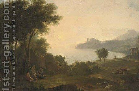 A Mediterranean coastal inlet with classical figures playing music, a fortress in the distance by Claude Lorrain (Gellee) - Reproduction Oil Painting