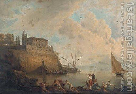 Fisherfolk before a Neapolitan villa by Claude-joseph Vernet - Reproduction Oil Painting