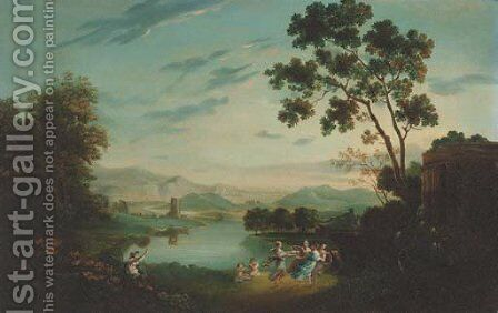 Figures dancing by a temple in an arcadian landscape by (after) Claude Lorraine R.W Nursey - Reproduction Oil Painting