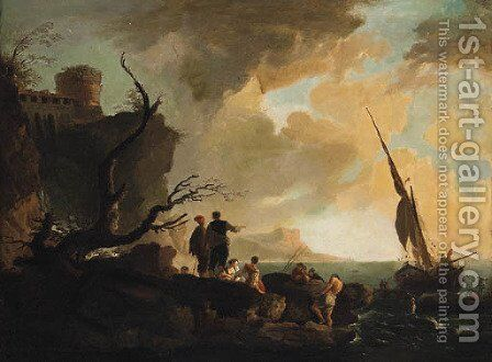 A Mediterranean coastline with Fisherfolk on the Shore, a hilltop Fortress beyond by (after) Claude-Joseph Vernet - Reproduction Oil Painting