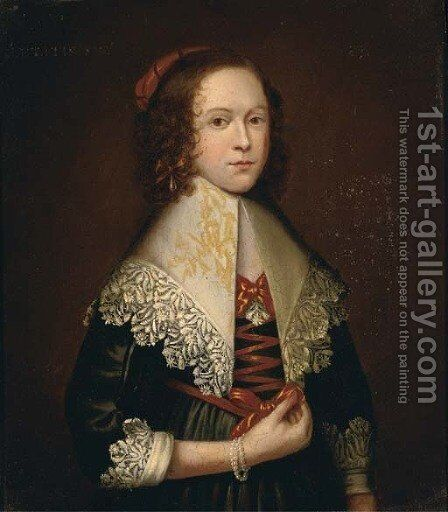 Portrait of a lady, half-length, in a green silk dress with a white lace collar and cuffs, wearing a pearl bracelet by Cornelius Janssens van Ceulen - Reproduction Oil Painting