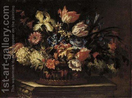 Tulips, irises, daffodils, poppies and other flowers in a basket on a plinth by Cornelis Kick - Reproduction Oil Painting