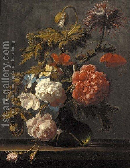 Tulips, roses, peonies, poppies and other flowers in a glass vase on a ledge by Cornelis Kick - Reproduction Oil Painting