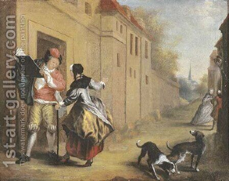 An elegant couple conversing in a town street by (after) Cornelis Troost - Reproduction Oil Painting