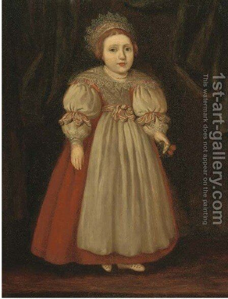 Portrait of Isabella Buxton as a young girl, full-length, in a red dress with a lace collar, holding cherries by Cornelis De Vos - Reproduction Oil Painting