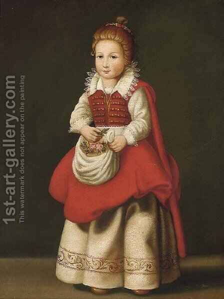 Portrait of a young girl, standing full-length, with flowers in her apron by Cornelis De Vos - Reproduction Oil Painting
